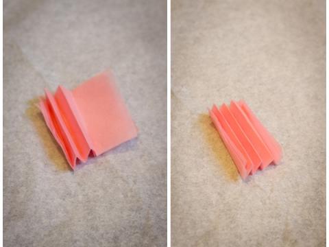 Step 2: 將紙巾摺成風琴狀。