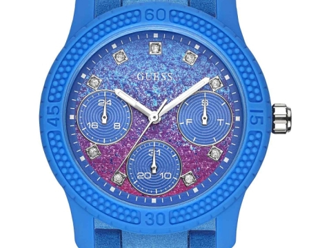 GUESS 海洋藍色配粉紅色潑墨錶 HK$1,590