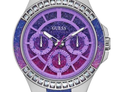 GUESS 銀鋼色襯粉紫色潑墨錶 HK$2,290