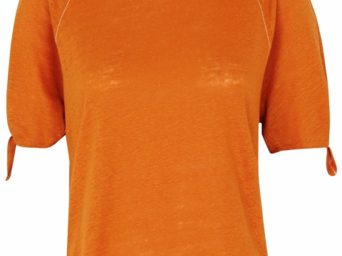 Whistles rust tie cuff shoulder linen tee $895