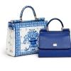 藍白陶瓷花紋 Sicily 手袋 $19,900、藍色 Sicily 皮革手袋 售價待定