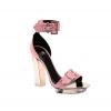 粉紅色拼透明高跟搭帶涼鞋 $25,000