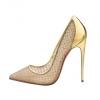 Christian Louboutin 金色鏡面皮革拼魚網高跟鞋 $7,500